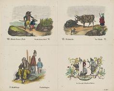 firma Jos. Scholz | Letters W, V en T, firma Jos. Scholz, Anonymous, 1829 - 1880 | Blad met 4 voorstellingen om uit te knippen en samen tot boekje over het alfabet te binden. Drie verbeeldingen van de letters W (Wacht kleene Dief!), V (Vee-Weide) en T (Tuchtelingen). Rechtsonder de letters A, B en C versierd met krullen en planten en spelende kinderen. Onder elke afbeelding een onderschrift in het Duits en in het Nederlands (behalve rechtsonder). Genummerd rechtsonder: No. 161.