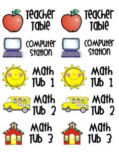 These math station labels go with my math station checklists.  Use Avery 18163 size labels....