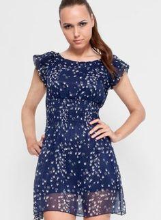 Navy Short Sleeve Bird Print Dress,  www.UsTrendy.com