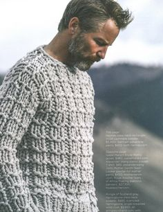 Men's chunky knit sweater - love older men Love Knitting, Hand Knitting, Mode Man, Moda Blog, Mode Masculine, Mans World, Cashmere Sweaters, Knit Sweaters, Cardigans