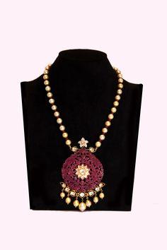 Ruby Carved Pendant Necklace, Fashionable Necklaces, Designer, Latest, Online