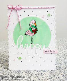 Pink Flamingo Christmas Card by Yukari Yoshioka   Flirty Flamingos stamp set by Newton's Nook Designs #newtonsnook #flamingo