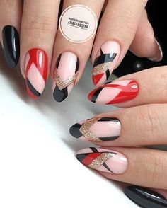 66 Hot Trend Black Almond Nails Design in 2019 - Trendy Nail Art - Almond Nails Designs, Black Nail Designs, Short Nail Designs, Fall Nail Designs, Red Nail Art, Red Nails, Black Almond Nails, Uñas Fashion, Luxury Nails
