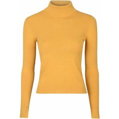 Mustard Polo Neck Top ($44) ❤ liked on Polyvore featuring tops, black, long sleeve tops, mustard yellow top, black top, long sleeve turtleneck top and turtle neck tops
