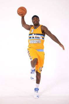 #Nuggets point guard Ty Lawson models the team's new alternate jersey.    Garrett Ellwood/NBAE/Getty Images