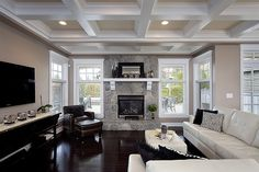 Totally what my living room is going to look like. Coffered ceiling, fireplace, windows on either side, and TV hanging on East wall. My Living Room, Living Room Decor, Living Area, Living Spaces, Sweet Home, Modern Fireplace, Fireplace Windows, Fireplace Ideas, Small Fireplace