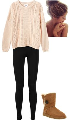 """Christmas day"" by thenameschloe on Polyvore. And i would wear this on christmas. Looks SOOO comfy!!"