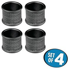 Weddings Dinner Party Dining Room Matte Black//Sponged Copper mDesign Metal Napkin Rings for Kitchen Set of 4