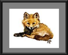 Woodland Animal Nursery Art Baby Fox Print : Original Watercolor ...