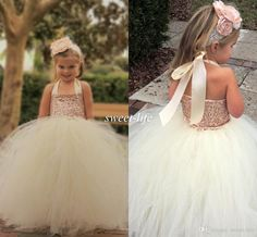 Cute Ivory Flower Girl Dresses 2015 Bling Rose Gold Sequin Halter Tutu Floor Length Ball Gown Cheap Custom Made Little Girls Pageant Dresses Online with $62.2/Piece on Sweet-life's Store | DHgate.com