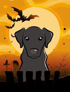 Caroline's Treasures Halloween Labrador by Denny Knight Graphic Art Plaque Size: White Pug, Red Dachshund, Halloween Chocolate, Halloween 2, Outdoor Flags, Outdoor Decor, Weimaraner, Vizsla, Black Labrador