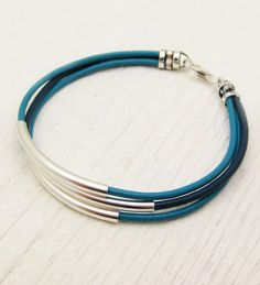 Turquoise Aqua Blue Leather & Sterling Silver Bracelet / unisex silver comfort natural / geometric boho bohemian stacking bangle modern - French Under Wear Leather Jewelry, Beaded Jewelry, Jewelry Bracelets, Silver Jewelry, Handmade Jewelry, Silver Ring, Ankle Bracelets, Jewellery, Leather Bracelets