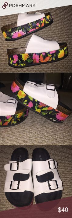 "Never worn Platform Birk like sandals Never worn floral/ white Birkenstock style Platform sandal (not birk) too is white with a double buckle strap and bottom is a floral Platform about 2"" tall . Surprisingly comfortable and sturdy with the double strap . Tagging JC for exposure as it's similar in steeeelo 😎😜 Jeffrey Campbell Shoes Platforms"