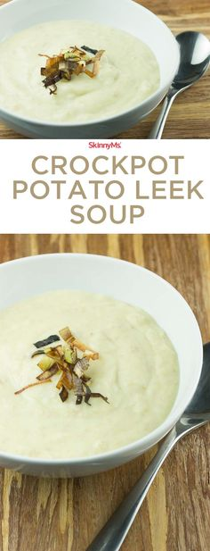 This satisfying Crockpot Potato Leek Soup requires a few ingredients and spices for the perfect dish. #soup #crockpot