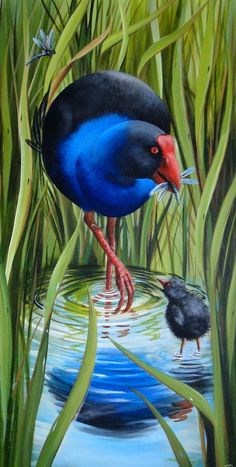 "Painting by Monique Endt ""Pukeko"" Acrylic on canvas, Birds, New Zealand Artist / Art Bird Painting Acrylic, Watercolor Art, Fun Craft, Craft Ideas, Peacock Wall Art, Fall Arts And Crafts, New Zealand Art, Nz Art, Art And Craft Design"