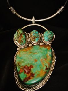 CHAVEZ-XXXLARGE-GREEN-TURQUOISE-NECKLACE-210-grams-Sterling-Silver