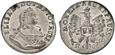 VI Groschen. Russian Coins. Russian Coinage for East Prussia. Konigsberg mint, 1761. 2,93g. Three curved hair locks on shoulder, crown points to G of D:G.. Bit 730 var. Choice uncirculated. Price realized 2011: 1.700 USD.