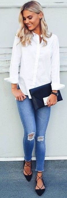 #fall #executive #peonies #outfits |  Cool & Casual White 'Hard Worker Shirt' + Denim