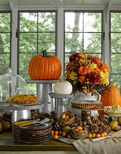 Ideas for the tea of thanksgiving! Under The Table and Dreaming: 30 Pumpkin, Gourd & Fruit Centerpieces for Festive Fall Tablescapes {Saturday Inspiration & Ideas} Thanksgiving Decorations, Seasonal Decor, Thanksgiving Holiday, Family Holiday, Thanksgiving Tablescapes, Pumpkin Decorations, Hosting Thanksgiving, Thanksgiving Table Settings, Holiday Tables