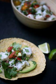 Ceviche Fish Tacos w