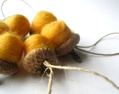 Giant Felted Acorn Ornaments SET of 6 - Rustic Home Decor - Christmas Tree Ornaments - Autumn Gold Mustard Yellow Wool SET (Ready to Ship). $18.00, via Etsy.