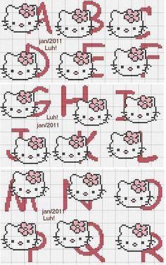 abecedario hello kitty en punto de cruz - Buscar con Google