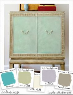 COLORWAYS   Annie Sloan Chalk Paint® . French Linen, Versailles, Old White, clear and dark wax, gilding wax on base, hardware, and trim. On cabinet doors, sides and top: Provence, Old White, Paloma and clear wax.