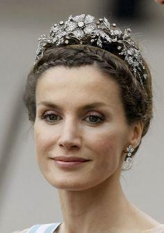 Then Princess Letizia of Asturias wearing the Mellerio Floral Tiara at the wedding of Princess Victoria & Daniel of Sweden
