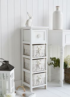 Sweetheart white narrow 23cm wide storage baskets for bedroom