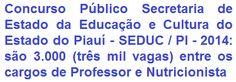 O Governo do Estado do Piauí, através da Secretaria de Estado da Educação e Cultura - SEDUC, torna pública a realização de Concurso Público para o provimento total de 3.000 vagas, nos cargos de Professor várias Especialidades (2.965 vagas) e de Agente Superior de Serviços - Especialidade Nutricionista (35 vagas) do Quadro Permanente da SEDUC / PI. A remuneração inicial para o cargo de Professor é de R$ 1.076,14, e para o cargo de Nutricionista é de R$ 1.070,43.