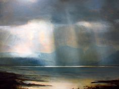 Zarina Stewart Clark is particularly influenced by the Dutch Century landscape painters. Her travels across Scotland and Suffolk remain her greatest inspiration where the changing light and great skies are so integral to her work. Abstract Landscape Painting, Seascape Paintings, Watercolor Landscape, Landscape Art, Landscape Paintings, International Artist, Contemporary Landscape, Light Painting, Painting Inspiration