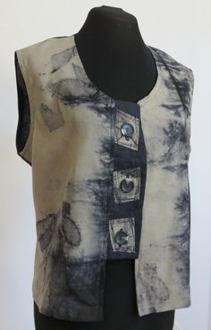 This unlined vest is navy linen and eco dyed by TJDesignClothing