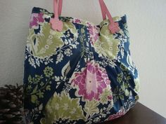 Large Pin Tuck Purse Bag Handbag with Leather Handle - Mother's Day. $68.00, via Etsy.