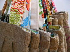 Upcycled Burlap Market Bag Fall Fashion by barefootSurfboutique