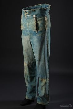 Handsewn men's work pants, blue brushed cotton & denim, circa 1840. From the collection of The Museum at FIT // #denimhistory  http://www.fitnyc.edu/museum/exhibitions/denim.php
