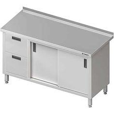 Stół przyścienny z blokiem dwóch szuflad(l), drzwi suwane MEBLE NIERDZEWNE http://cws.com.pl/oferta/55?search=&order=i.ordering&dir=asc&cm=0#tlb  #meble_nierdzewne