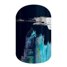 Masterpiece | Jamberry | Silver and blue metallics over a stark black background make this high-contrast, brushstroke-inspired design a true 'Masterpiece'.