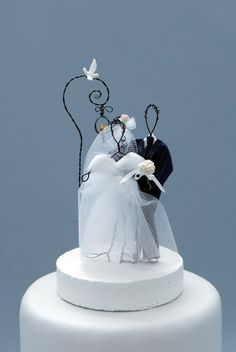 Wedding Cake Topper Bride Groom Wire Figure Lovebird Vintage