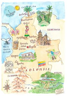 Map of Colombia - Michael Hill Travel Tours, Travel Maps, Travel Posters, Travel Guides, Places To Travel, Ecuador, Peru, Colombia Travel, South America Travel