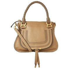 Chloé Medium Marci Shoulder Bag ($1,655) ❤ liked on Polyvore featuring bags, handbags, shoulder bags, shoulder bag handbag, chloe handbags, beige purse, beige shoulder bag and shoulder bag purse