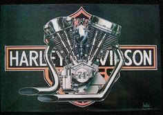 David Mann Harley-Davidson Knuckle / Pan'' 16 x 20 Matted Art Harley Davidson Panhead, Harley Davidson Chopper, Vintage Harley Davidson, Harley Panhead, Harley Bikes, Baggers, Choppers, Art Mann, David Mann Art