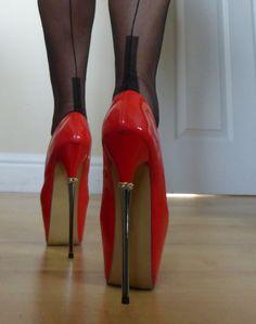 Elegant high heels with chrome spike heels. RB Elegant high heels with chrome spike heels. Extreme High Heels, Very High Heels, Platform High Heels, Black High Heels, High Heels Stilettos, High Heel Boots, Heeled Boots, Stiletto Heels, Red High