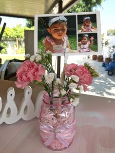 Girl party centerpiece great for birthday or baptism with mason jars.