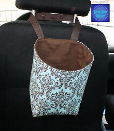Travel Trash Container, Trash Bag, Car Accessory, Damask Fabric, Duct Cloth, Kam Snaps, Damask Bag, Blue Damask, Brown Damask on Etsy, $18.00