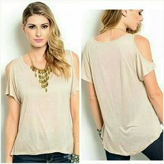 Cold shoulder top Size Medium 7/8 NWT Trendy beige cold shoulder top. Size medium 7/8  Super soft rayon cotton. Brand new with tag. Never worn, no flaws. Tops Blouses
