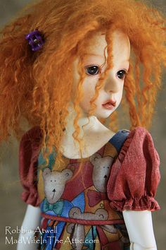 """This is """"Deogi"""" made by Dollstown in Fresh Skin resin on the 7 year body. I painted her face and made her wig. She is wearing a dress made by the Kish company. Pretty Dolls, Beautiful Dolls, Big Eyes Artist, Art Dolls, Dolls Dolls, Making Faces, Girl Body, Ball Jointed Dolls, Doll Face"""