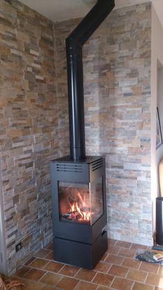 Wood Stove Decor, Pellet Stove, Log Burner, Faux Stone, Brick Wall, Hearth, Backyard Landscaping, New Homes, House Design