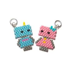 Personalized Photo Charms Compatible with Pandora Bracelets. diy peyote perles Cute Robot Charms Seed Bead Jewelry His