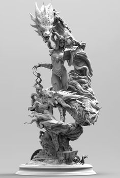 Death and life, order and law,growth. zbrush sculpting,and render with keyshot, hope u like it Female Character Concept, Character Art, Dark Fantasy, Fantasy Art, Dragons, Dragon Girl, Creature Concept, Sculpture Clay, Samurai Tattoo