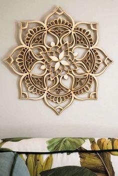 Wooden mandala inspired by the Lotus Flower Wood Crafts, Diy And Crafts, 3d Laser Printer, Motif Oriental, Motif Art Deco, Lotus Mandala, Lotus Flower, Scroll Saw Patterns, Mandala Design
